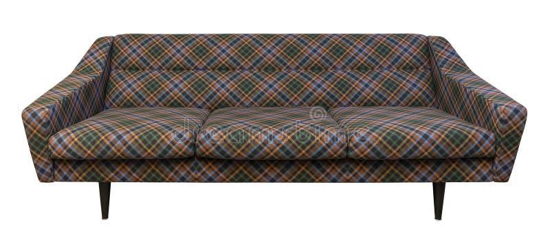 Strato moderno, tessuto del plaid del sofà isolato su bianco immagine stock libera da diritti