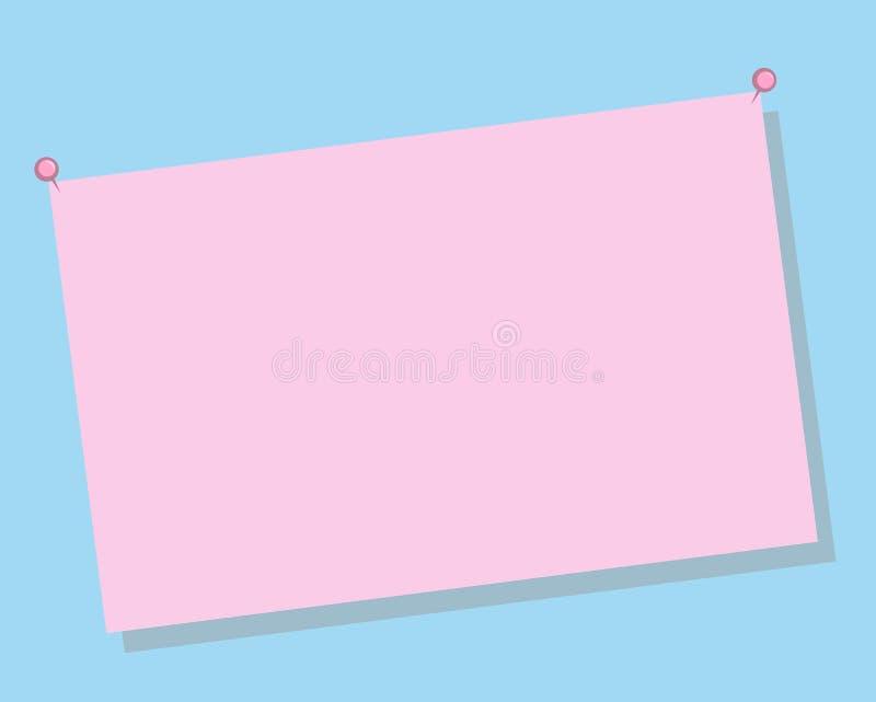 Strato rosa per testo, note su fondo blu illustrazione vettoriale