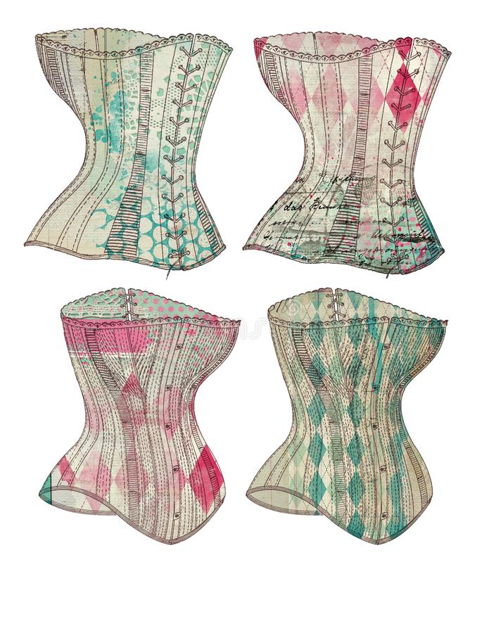 Strato stampabile dell'etichetta - corsetto d'annata modellato capriccioso etichetta - abbellimenti del giornale - elementi illustrazione vettoriale