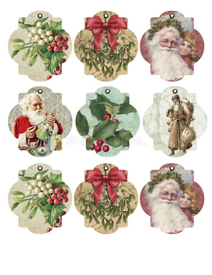 Strato stampabile dell'etichetta - etichette del regalo - assortimento d'annata dell'etichetta di Natale royalty illustrazione gratis