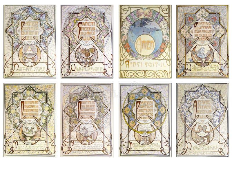 Strato stampabile dell'etichetta - figurine di ATC di Art Nouveau - Art Nouveau Illustrations d'annata - pastello - floreale illustrazione di stock