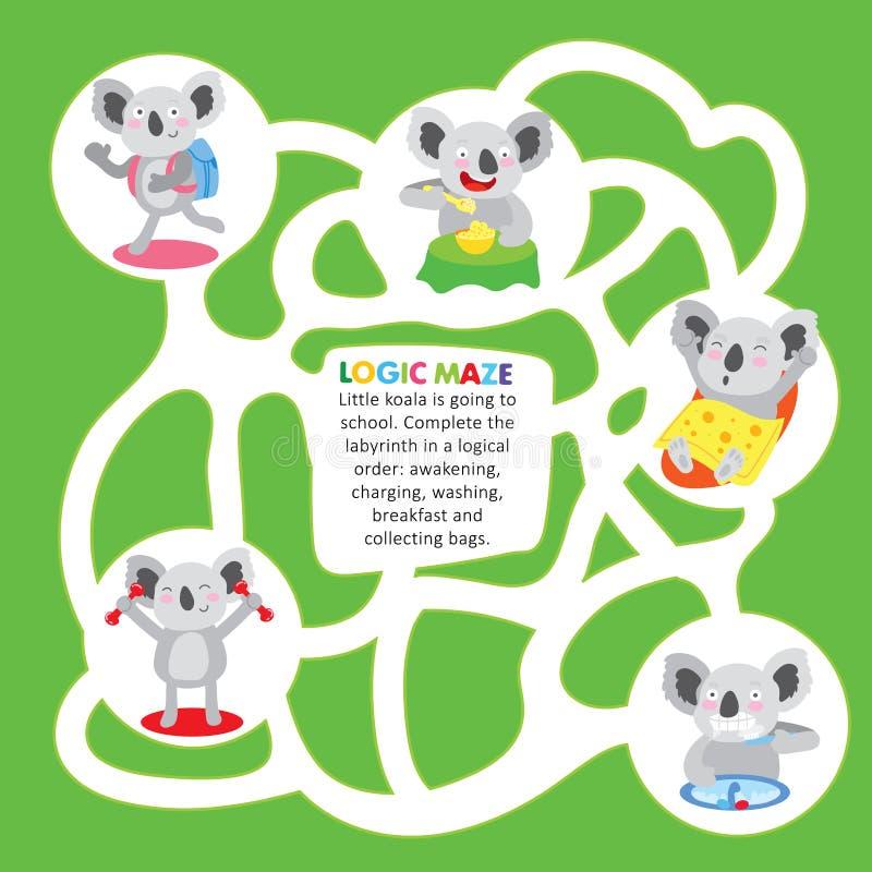 Strato stampabile di Maze Game Puzzle Koala Order dei bambini illustrazione vettoriale