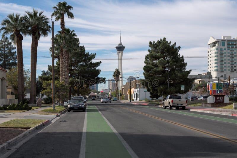 Stratosfera od w centrum Las Vegas, Nevada zdjęcie royalty free