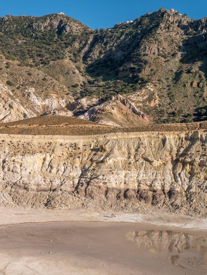 Stratovolcano尼西罗斯岛海岛爱琴海 库存照片