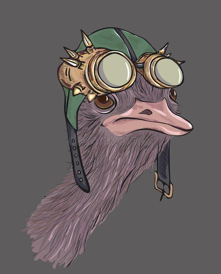 Strauß gekleidet oben in steampunk Hut lizenzfreie abbildung