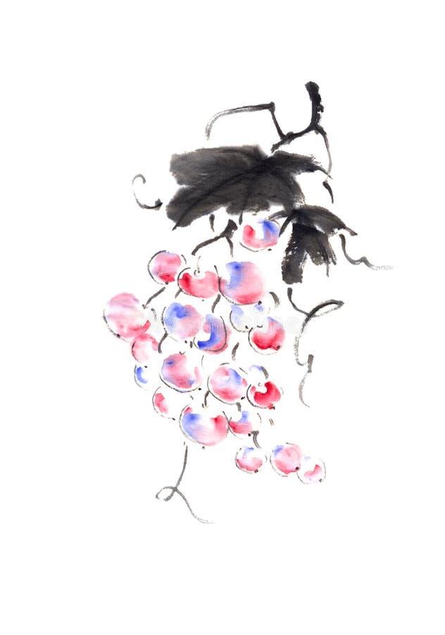 Strauße Farbtrauben im japanischen Stil originale Sumi-e-Tintenmalerei lizenzfreie stockfotografie