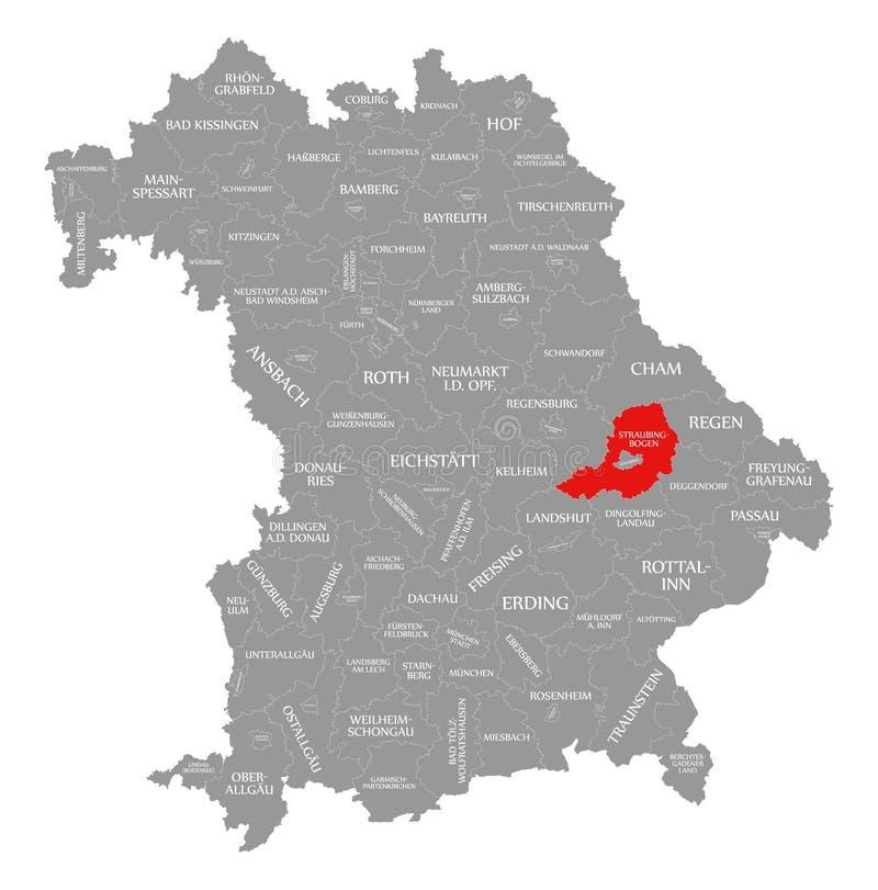 Straubing-Bogen okręgu administracyjnego czerwień podkreślająca w mapie Bavaria Niemcy ilustracji