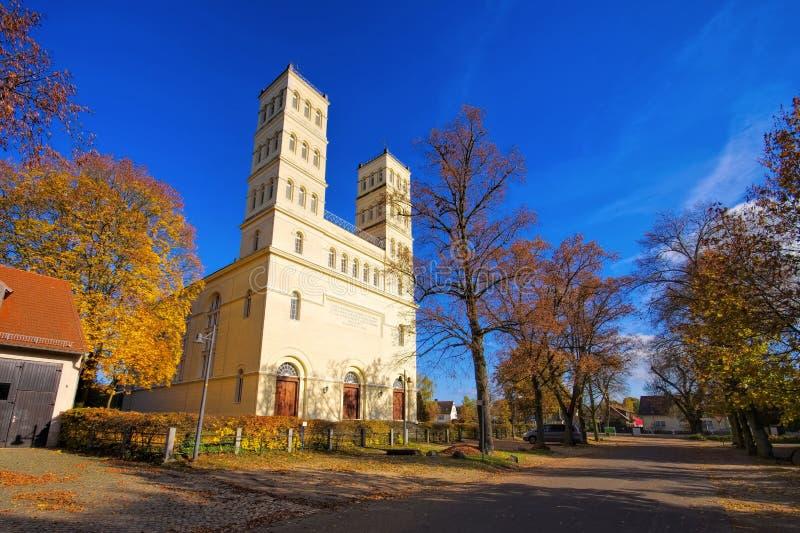 Straupitz Schinkelkirche in Spree Forest in fall royalty free stock photo