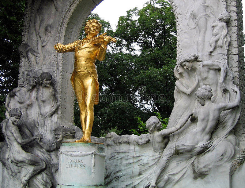 Strauss' statue in vienna stock images