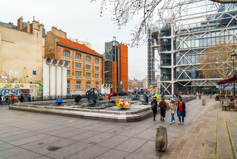 Stravinsky fontanna w Beaubourg okręgu blisko Pompidou centrum, Paryski Francja zdjęcie royalty free