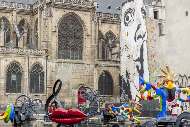 Stravinsky springbrunn - Paris, Frankrike fotografering för bildbyråer