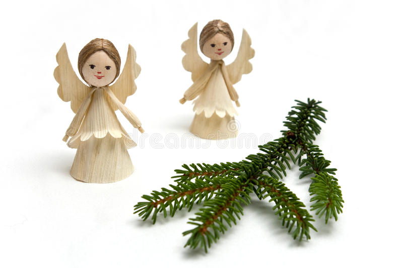 Straw angel with spruce branch stock images