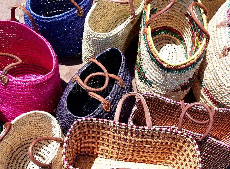 Straw bags stock photo