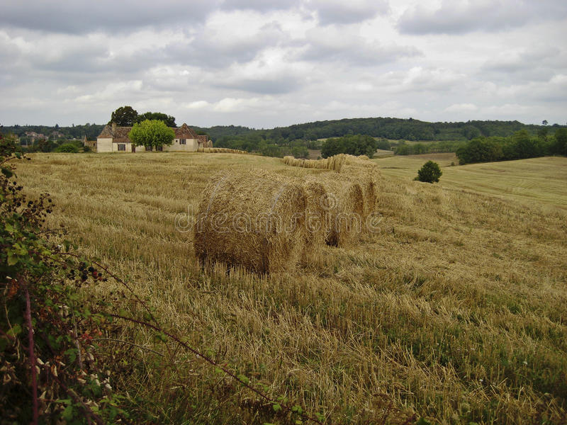 Straw bales in a line stock photos