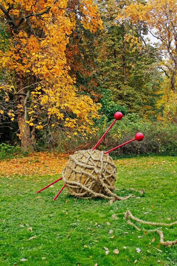 Straw ball of yarn and knitting needles in autumn botanical garden `Aptekarsky garden` in Moscow royalty free stock images