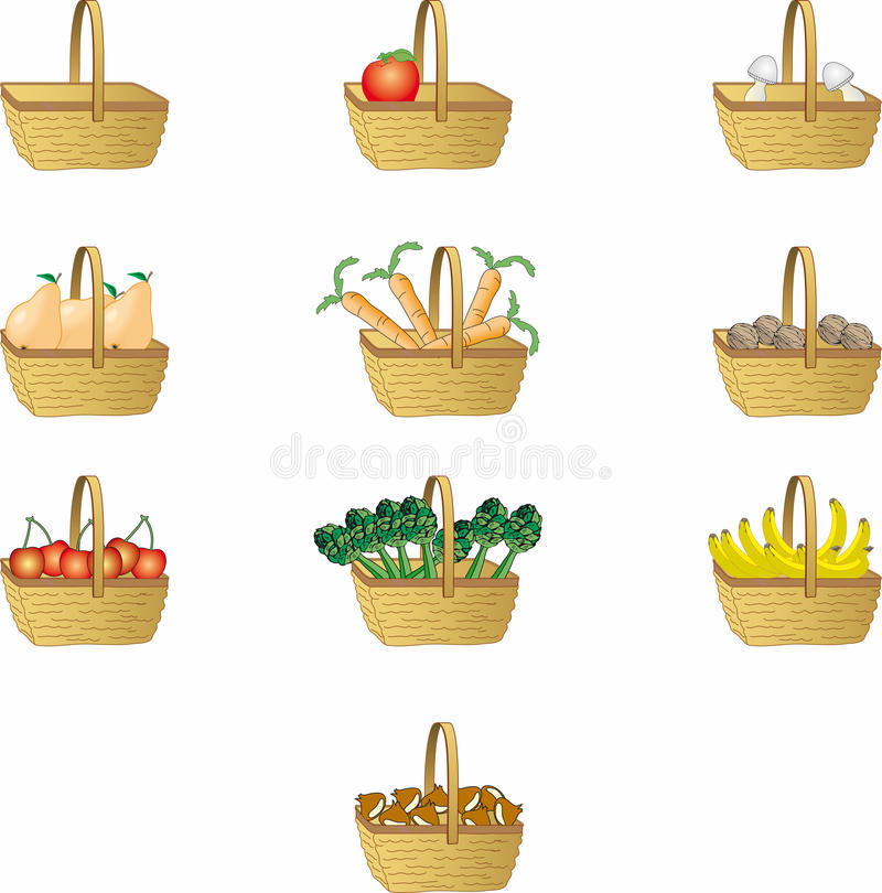 straw baskets vector illustration