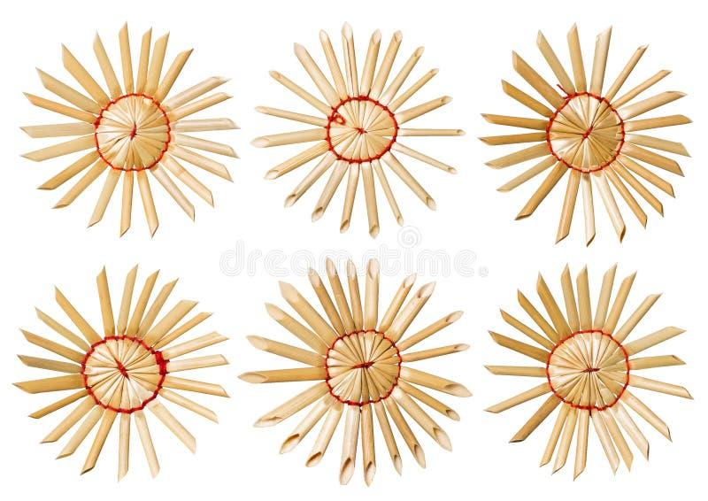 Straw Christmas Snowflake Toys, sistema de la estrella hecha en casa, aislado imagen de archivo libre de regalías