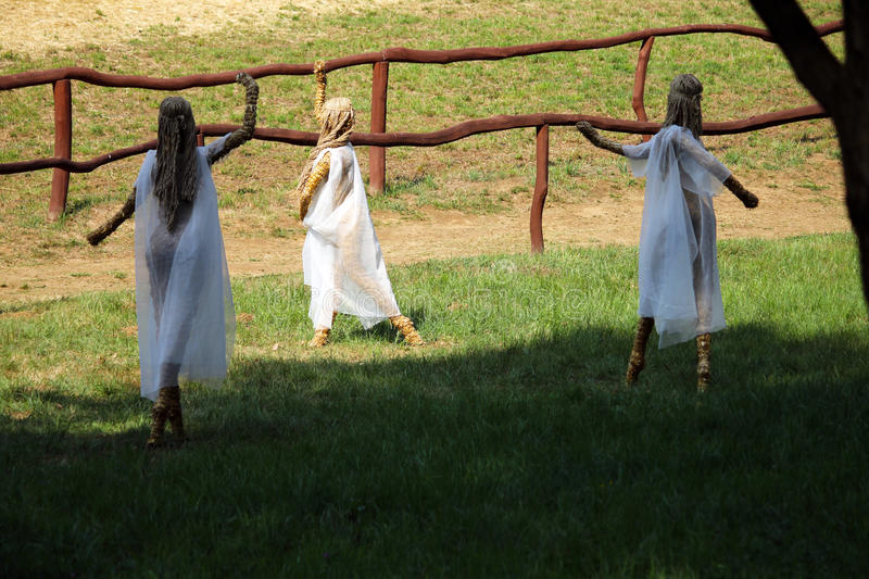 Straw dancing fairies royalty free stock photo
