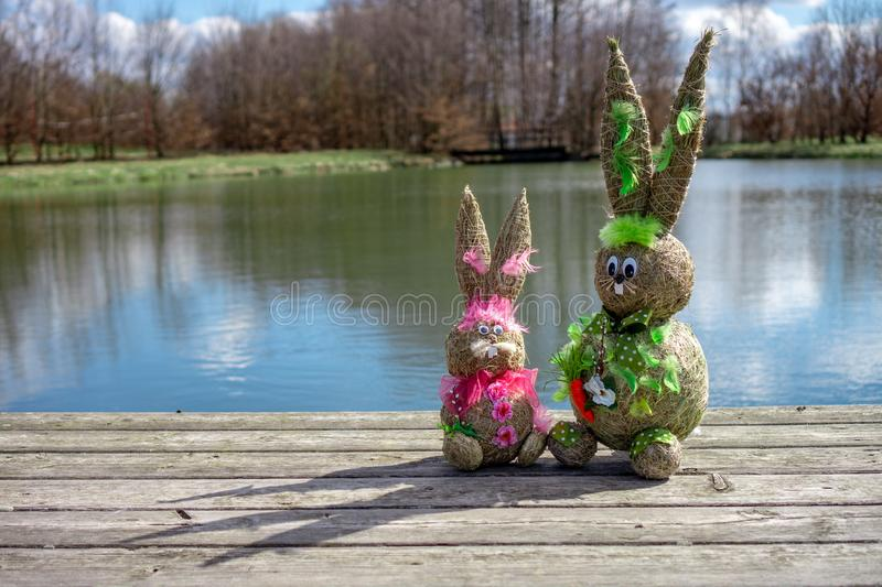 Straw Figure Bunnys stock images