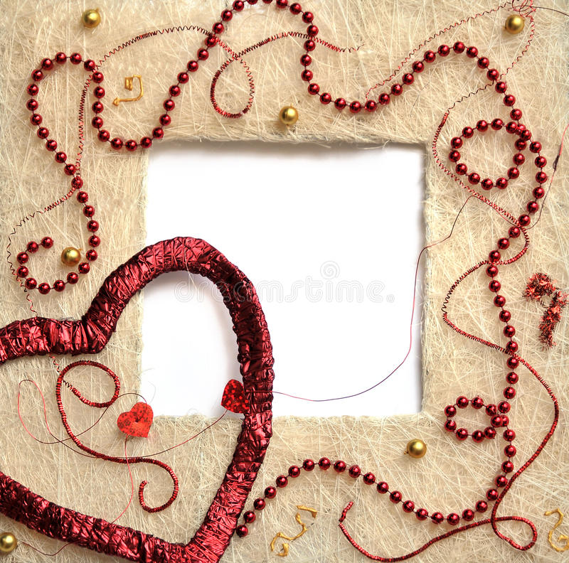 Straw frame with heart royalty free stock images