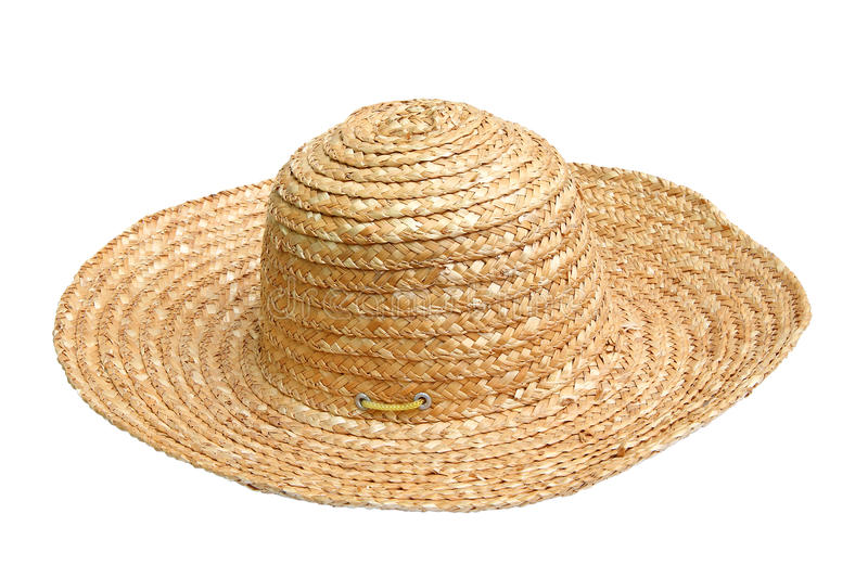 Straw hat. Isolated over white background royalty free stock photo