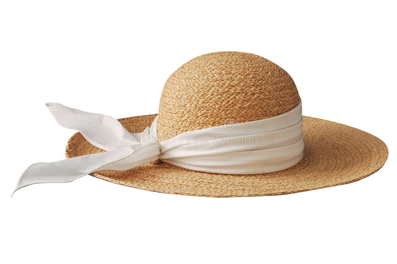 Straw hat. Traditional straw hat for girl stock photos