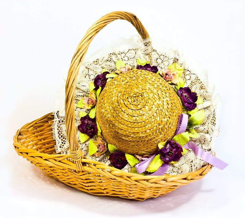 Download Straw hat and basket stock image. Image of ribbon, basket - 24761191