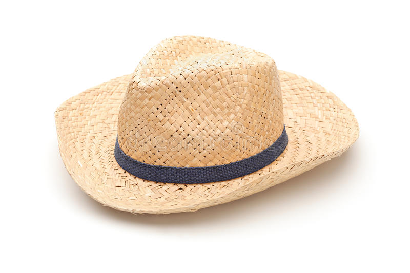 A straw hat with blue strap. Isolated on white background stock photos