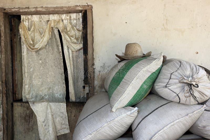 Straw Hat met Rustieke Deur stock afbeelding