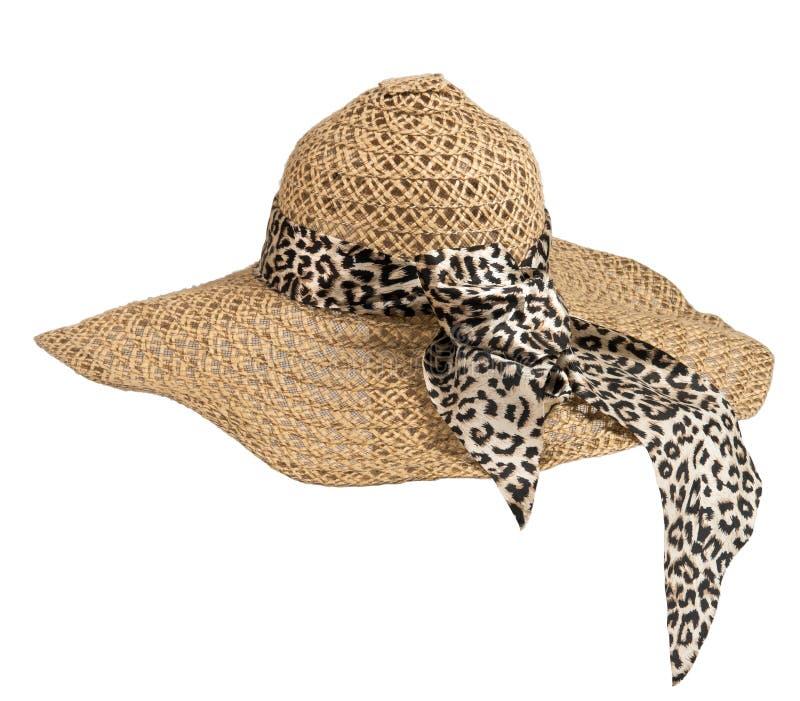 Straw hat, mushroom, on white background stock photos