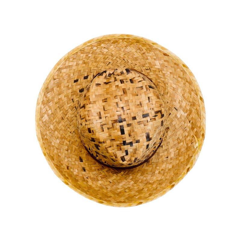 Straw Hat pour l'homme a isolé sur le fond blanc avec le chemin de coupure Beau chapeau d'été de Brown de vue supérieure pour des photos stock