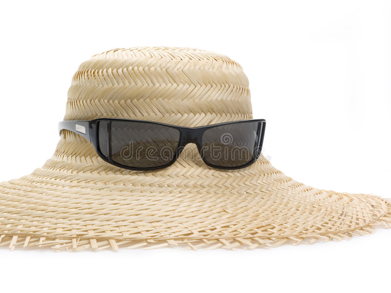 Straw hat and sunglasses royalty free stock photo