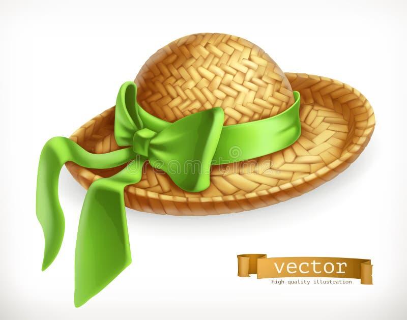 Straw hat, vector icon. Straw hat, 3d vector icon stock illustration