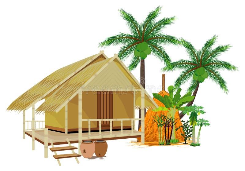 Straw hut. Design stock illustration