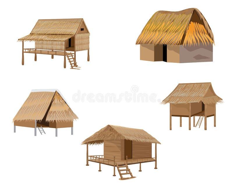 Straw hut. The straw hut design stock illustration
