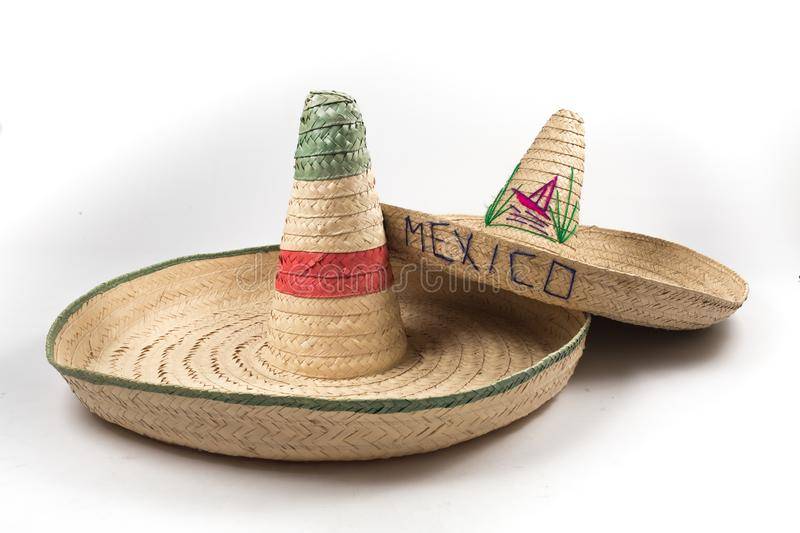 The straw Mexican sombrero hat on white background isolated stock photos