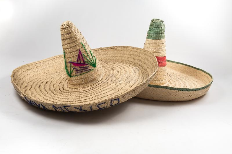 The straw Mexican sombrero hat on white background isolated stock images
