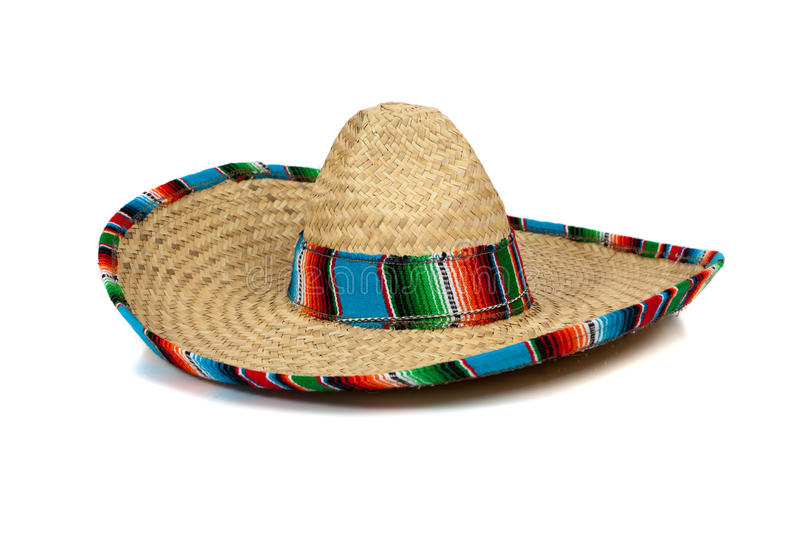 Straw Mexican Sombrero on white background. A colorful mexican sombrero on a white background with copy space royalty free stock images