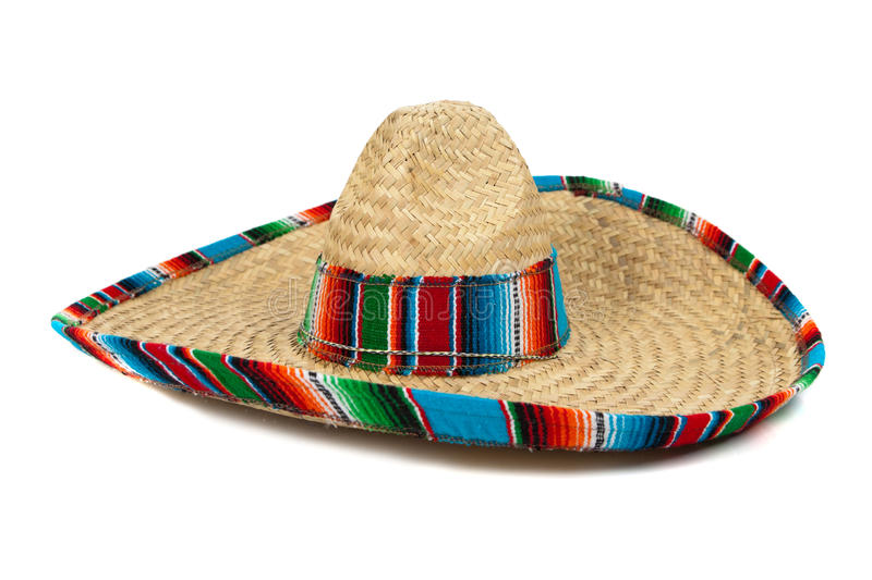 Straw Mexican Sombrero on white background stock photography