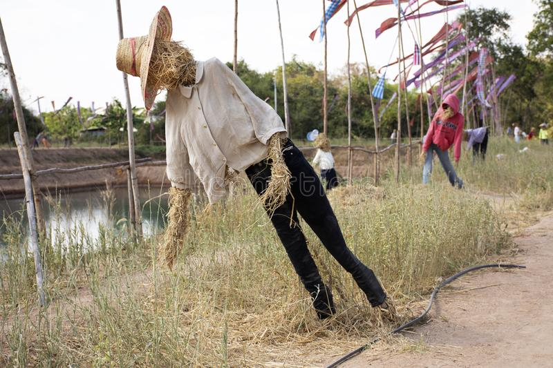 Straw puppets or straws man figure Festival for thai people and foreign travelers travel visit at Maha Sarakham, Thailand. Straw puppets or straws man figure royalty free stock photo