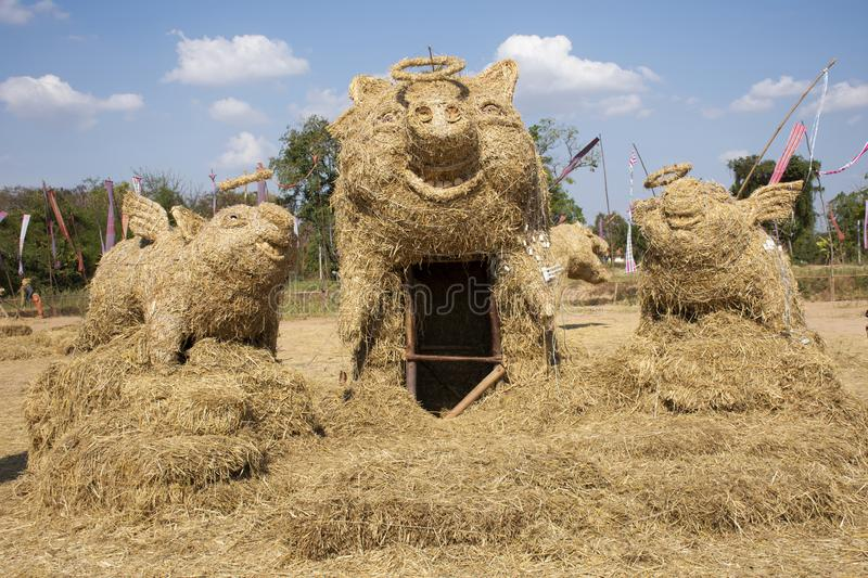 Straw puppets or straws man figure Festival for thai people and foreign travelers travel visit at Maha Sarakham, Thailand. Straw puppets or straws man figure stock photos