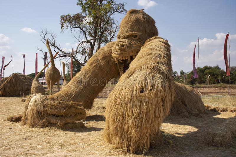 Straw puppets or straws man figure Festival for thai people and foreign travelers travel visit at Maha Sarakham, Thailand. Straw puppets or straws man figure stock photo