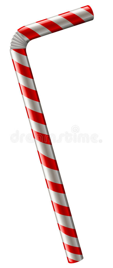 Straw in red and white color. Illustration royalty free illustration