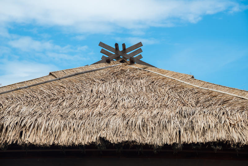 Straw roof in Japanese style. royalty free stock photos