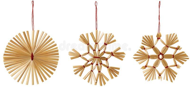 Straw Snowflake Hanging Decoration, Noël pailleux de flocon de neige photos stock