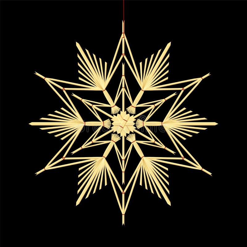 Straw Star Black Background illustration de vecteur