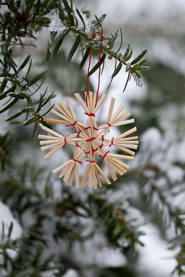 Straw Star Christmas Ornament In de Sneeuw royalty-vrije stock fotografie