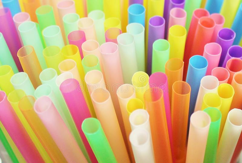 Straw straws drinking disposable plastic colourful background group object, stock, photo, photograph, image, picture. Straw straws drinking plastic disposable stock photography