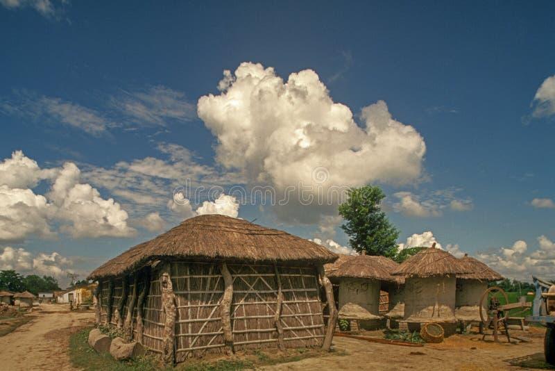 Straw takbyhuset och Grainlagringen utanför Phulwari Bettiah Near Champaranya arkivfoto