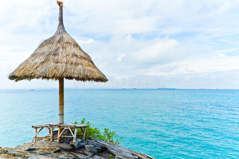 Download Straw umbrella stock photo. Image of beds, exotic, paradise - 27067336